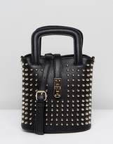 Liquorish All Over Studded Crossbody Bag With Buckle Detail