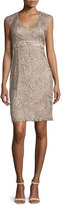 Sue Wong Sleeveless Embellished-Lace Dress, Taupe