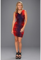 Halston Sleeveless V-Neck Printed Dress w/ Ruched Detail (Fire Windlines Print) - Apparel