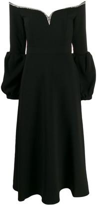Self-Portrait embellished flared dress