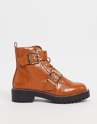 ASOS DESIGN Aubrey hiker lace up boots in tan croc
