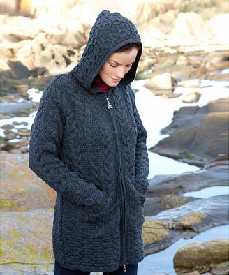 West End Knitwear Women's Non-Denim Casual Jackets CHARCOAL - Charcoal Hooded Zip-Up Wool Jacket - Women