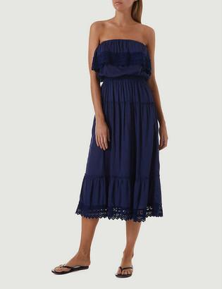 Melissa Odabash Clara strapless woven midi dress