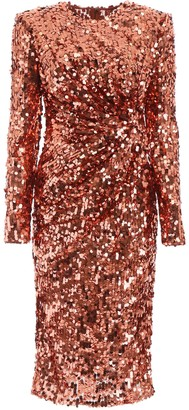 Dolce & Gabbana SEQUINED DRESS 40 Red, Brown