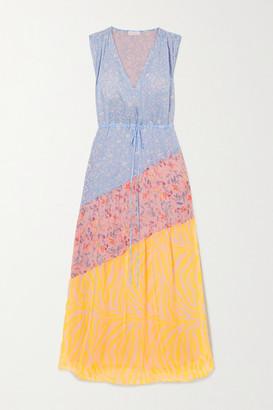 Eywasouls Malibu Natalia Paneled Printed Voile Maxi Dress - Light blue
