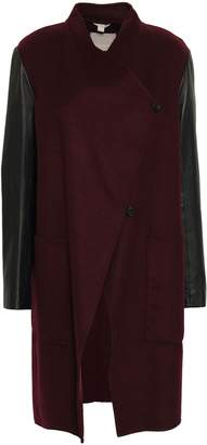Soia & Kyo Tissia Paneled Wool-blend Felt And Leather Coat