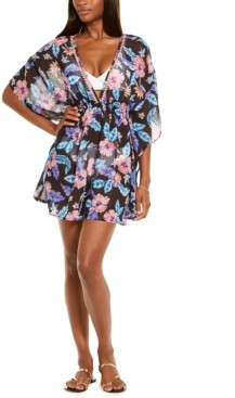 Miken Juniors' Tropical Print Smocked Waist Cover-Up, Created for Macy's Women's Swimsuit