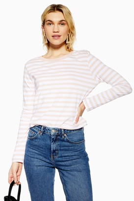 Selected Womens **Pink 100% Organic Cotton Stripe Long Sleeve T-Shirt By Pink