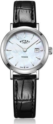 Rotary Watches Stainless Steel Windsor Watch With Black Leather Strap