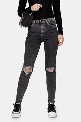 Topshop Womens Black Acid Rip Jamie Skinny Jeans - Black