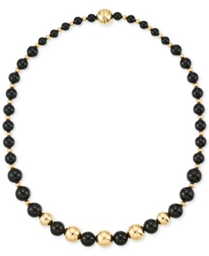 Signature Gold Onyx Beaded Necklace (6, 8 and 10mm) in 14k Gold over Resin