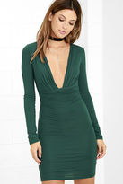 LuLu*s Curves Ahead Dark Green Bodycon Dress
