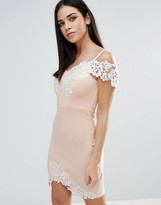 Lipsy Bodycon Dress With Lace Insert