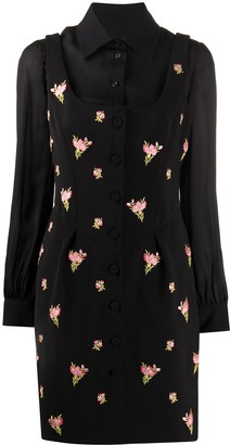 Moschino Layered-Look Floral-Embroidered Dress
