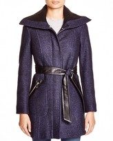 Via Spiga Boiled Bouclé Belted Coat with Rib-Knit Collar
