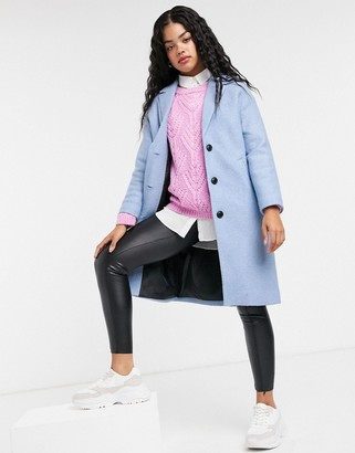 Pimkie button front car coat in blue