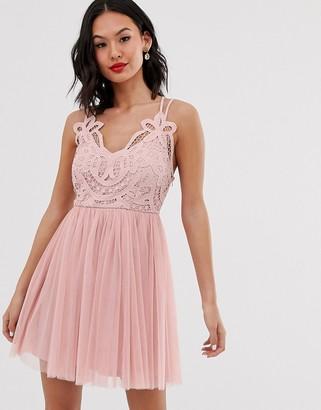 Asos Design DESIGN Premium lace top tulle cami mini dress-Pink