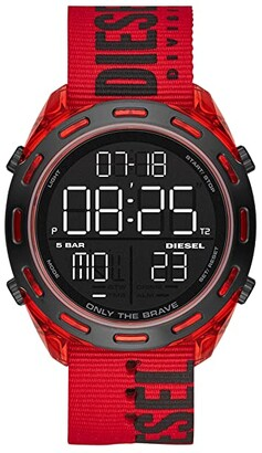Diesel Crusher Digital Watch (Red) Watches
