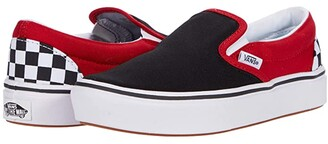 Vans Kids ComfyCush Slip-On (Big Kid) ((Checkerboard) Black/Red) Boys Shoes