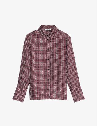 Sandro Geometric floral-print silk-twill shirt