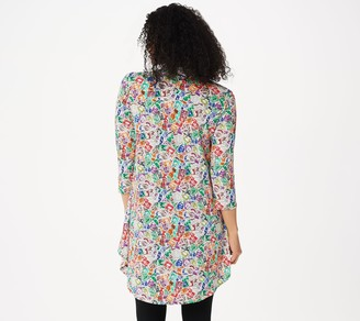 Women With Control Attitudes by Renee Como Jersey Printed Collared Tunic