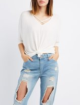 Charlotte Russe Strappy Knotted Dolman Tee