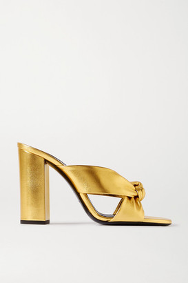 Saint Laurent Bianca Knotted Metallic Leather Sandals - Gold