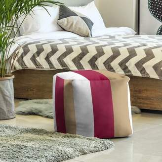 Fly London East Urban Home Boston Stripes Cube Ottoman East Urban Home Upholstery Color: White/Maroon/Gold