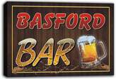 AdvPro Canvas scw3-021106 BASFORD Name Home Bar Pub Beer Mugs Stretched Canvas Print Sign