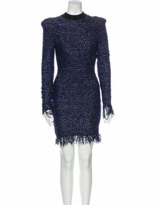 Balmain Mock Neck Mini Dress Blue