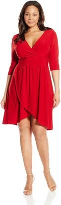 Star Vixen Women's Plus-Size Elbow Sleeve Surplice with Tulip Skirt