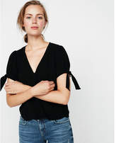 Express button front tie sleeve v-neck top