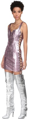 Jeremy Scott Metallic Leather Mini Dress