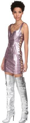 Jeremy Scott Metallic Leather Mini Dress