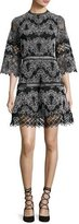 Alexis Karina Embroidered 3/4-Sleeve Dress