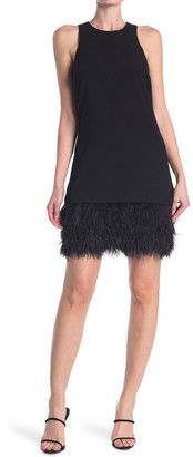 Trina Turk Berry Ostrich Feather Trim Dress