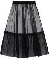 MSGM Paneled Pleated Tulle Midi Skirt