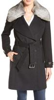 Andrew Marc Genuine Rabbit Fur Trim Wool Blend Coat