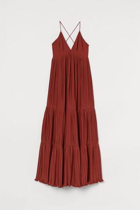 H&M Pleated Long Dress - Orange