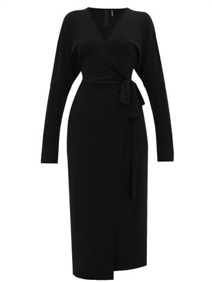 Norma Kamali V-neck Dolman-sleeve Jersey Wrap Dress - Black