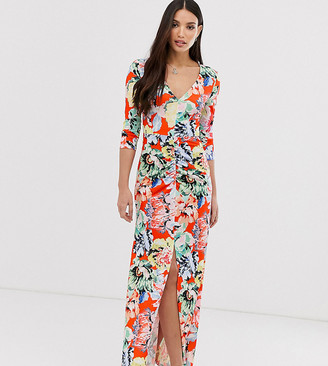 Asos Tall DESIGN Tall ruched sleeve open back maxi dress in floral print-Multi