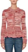 Alexander McQueen Crewneck Long-Sleeve Tweed Peplum Cardigan Sweater