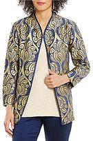 Sigrid Olsen Signature Mandarin Collar Printed Chenille Kimono Jacket