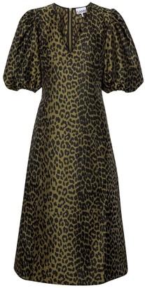 Ganni Leopard-print jacquard midi dress