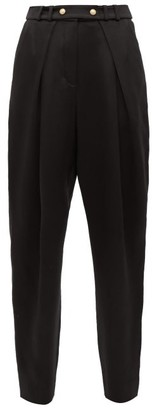 Balmain Pleated Silk-satin Tapered Trousers - Black