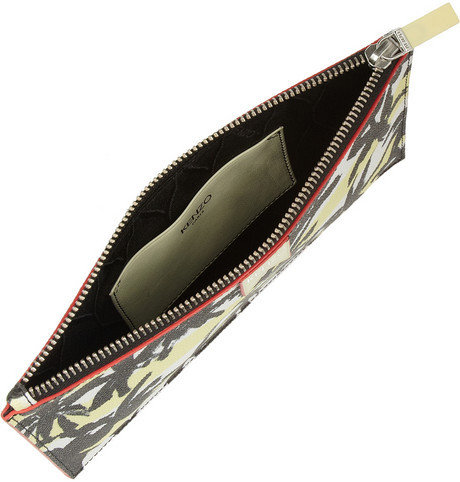 Kenzo Palm tree-print faux textured-leather pouch