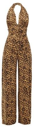 Norma Kamali Halterneck Leopard-print Jumpsuit - Leopard