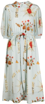 Simone Rocha Graphic Patterned Belted Dress
