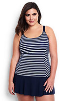 Classic Women's Plus Size Scoop Tankini Top-Deep Sea/White Media Stripe