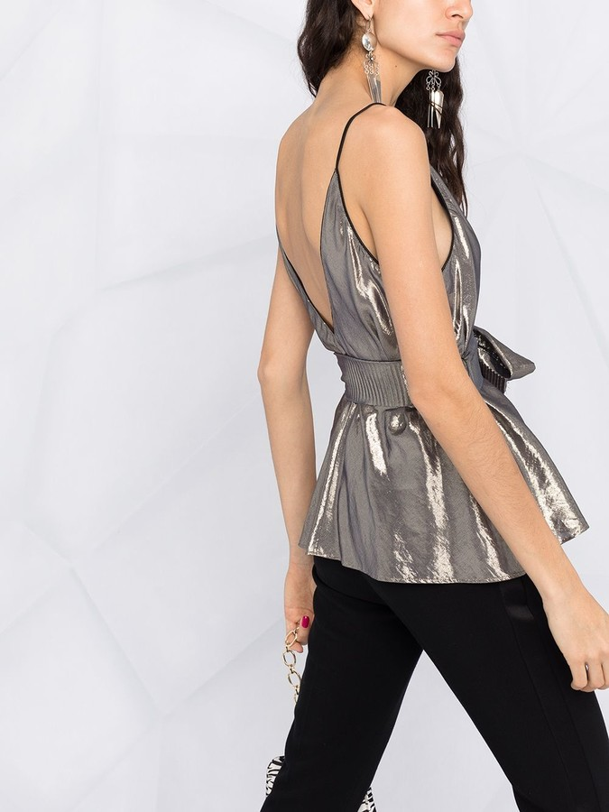 Thumbnail for your product : Forte Forte Tie-Waist Lame Cami Top